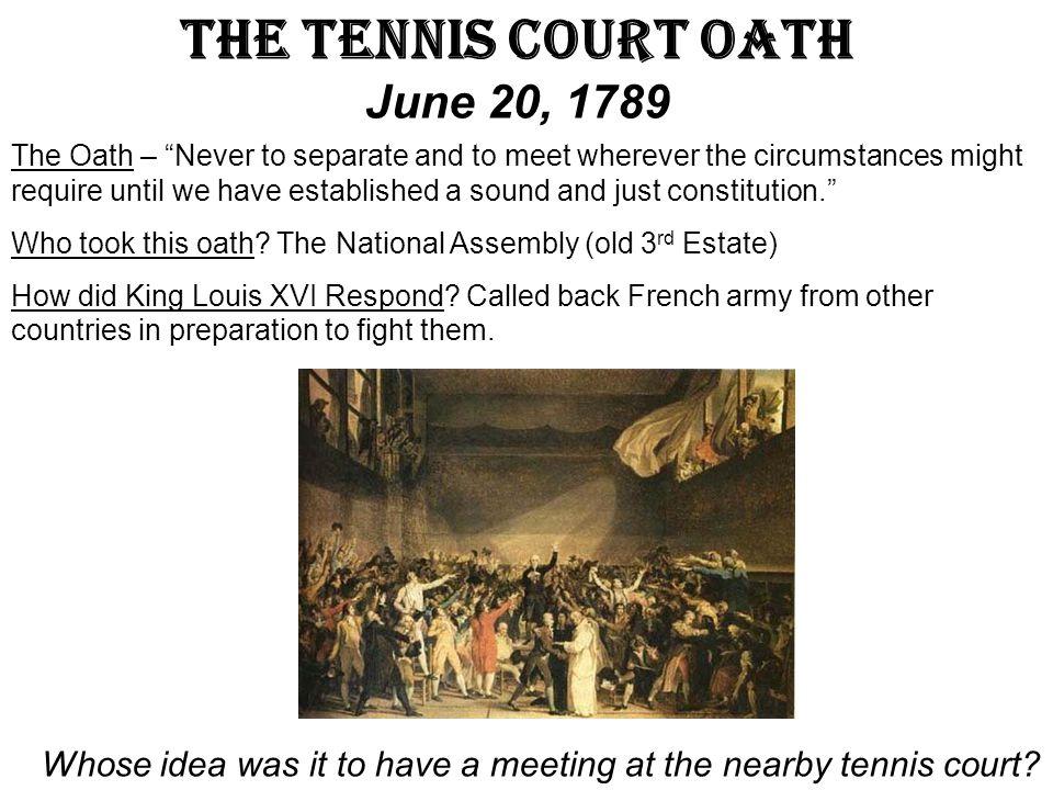 The Tennis Court Oath June 20, 1789