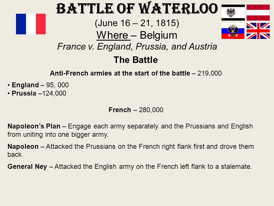 Anti-French armies at the start of the battle – 219,000