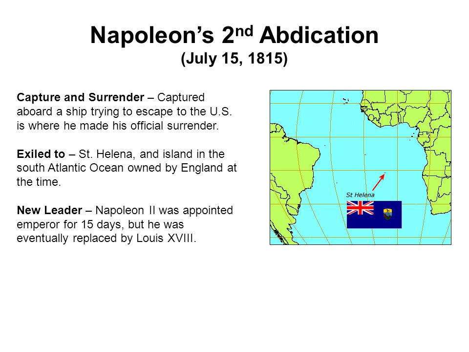 Napoleon's 2nd Abdication (July 15, 1815)