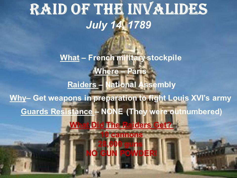 Raid of the Invalides July 14, 1789