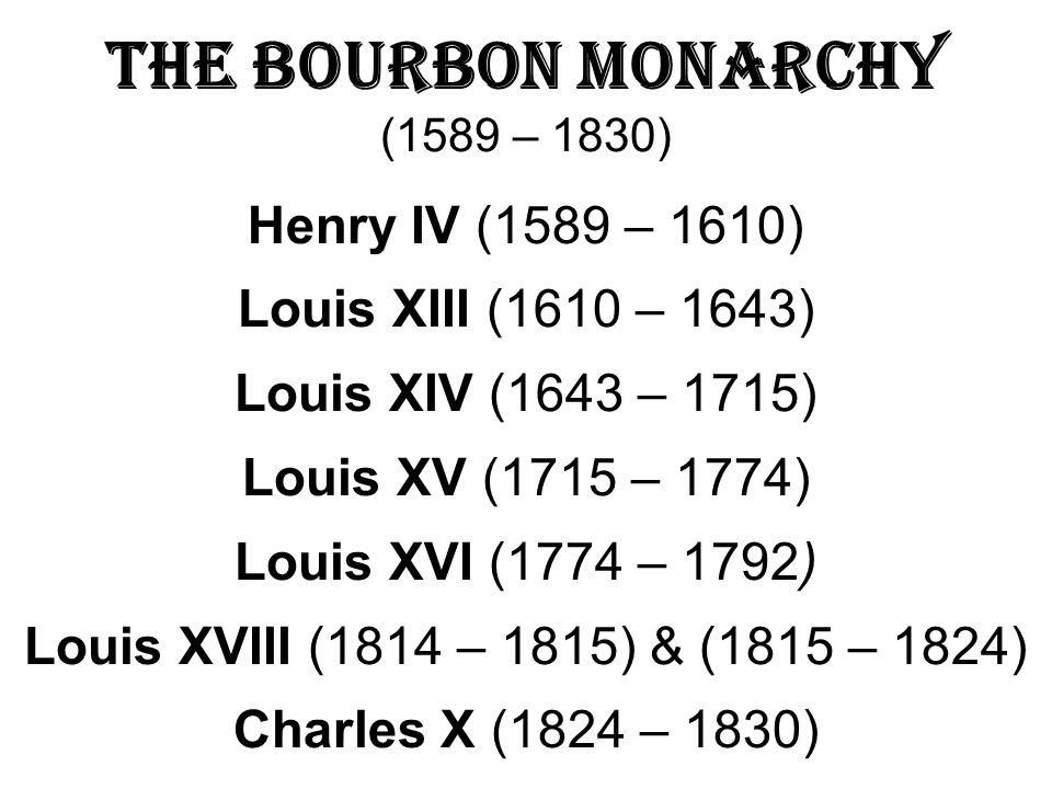 The Bourbon Monarchy (1589 – 1830)