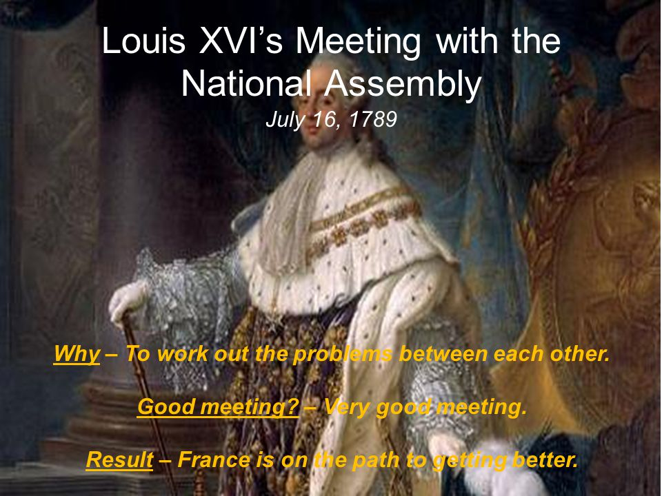 Louis XVI's Meeting with the National Assembly July 16, 1789