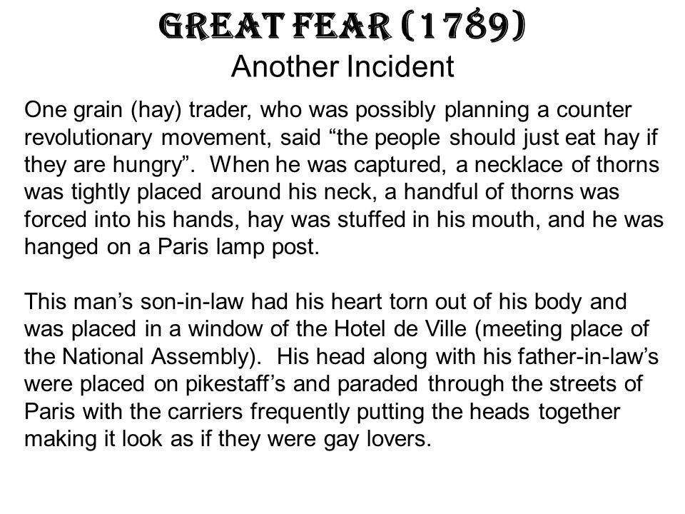 Great Fear (1789) Another Incident