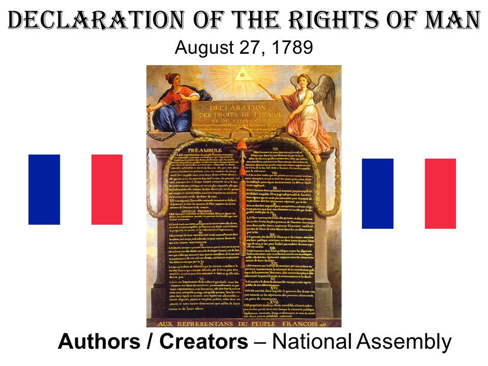 Declaration of the Rights of Man August 27, 1789