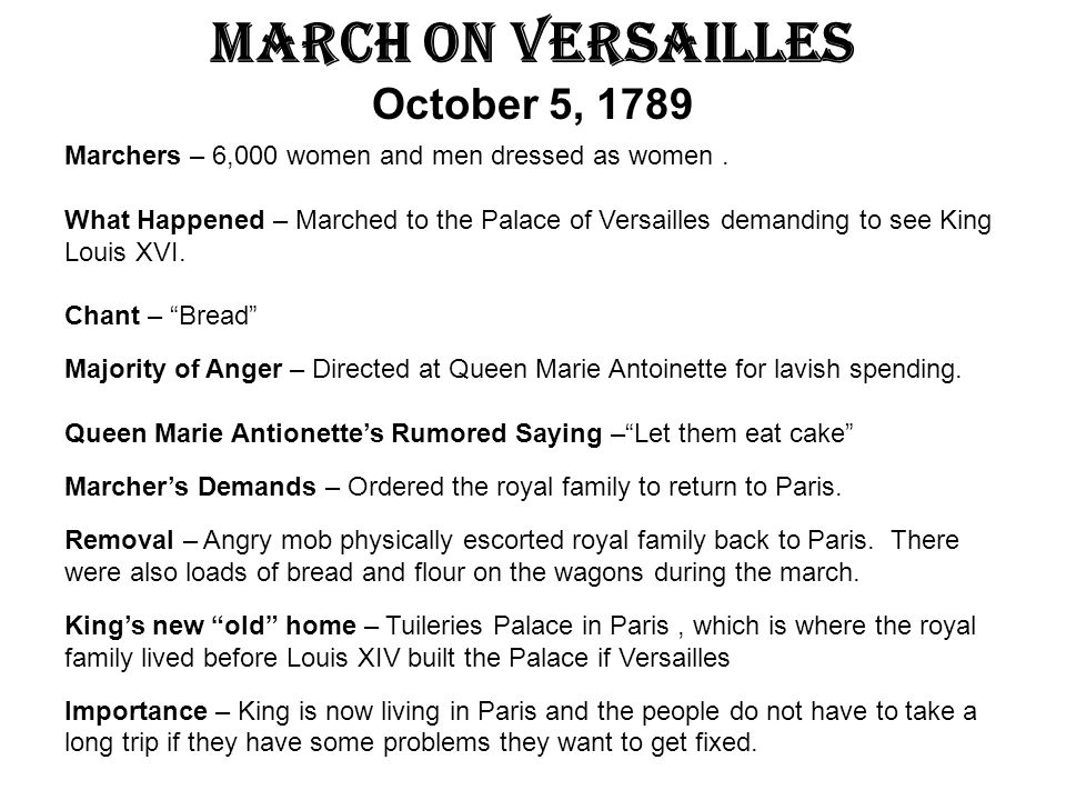 March on Versailles October 5, 1789