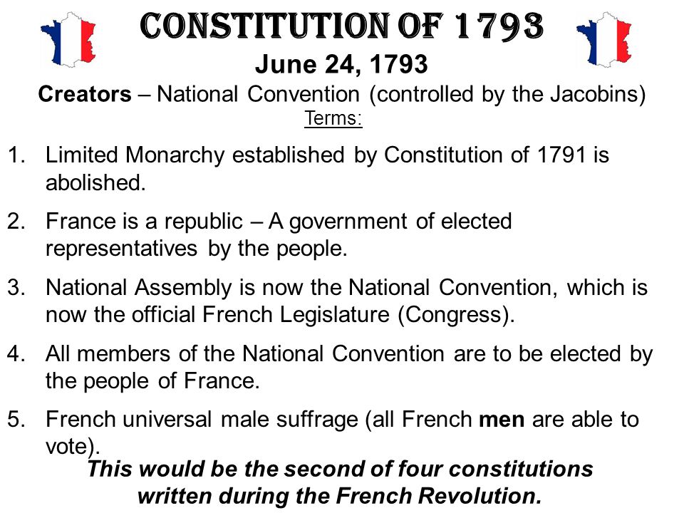 Constitution of 1793 June 24, 1793 Creators – National Convention (controlled by the Jacobins)