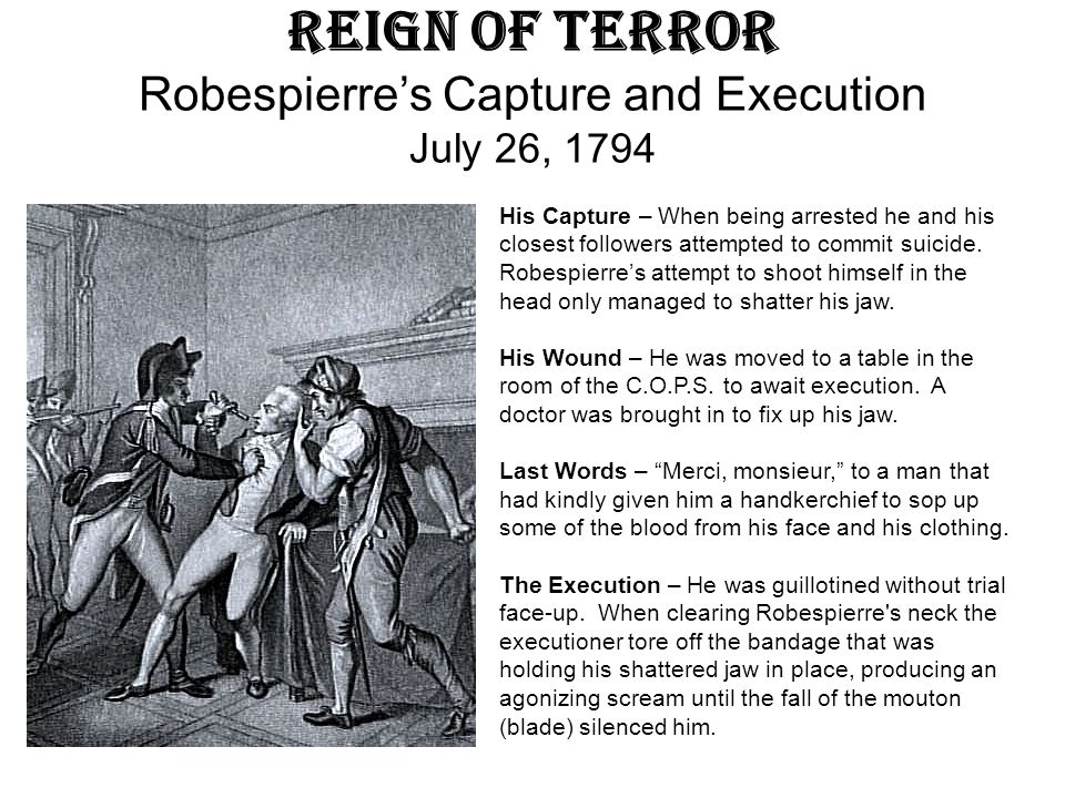 Reign of Terror Robespierre's Capture and Execution July 26, 1794