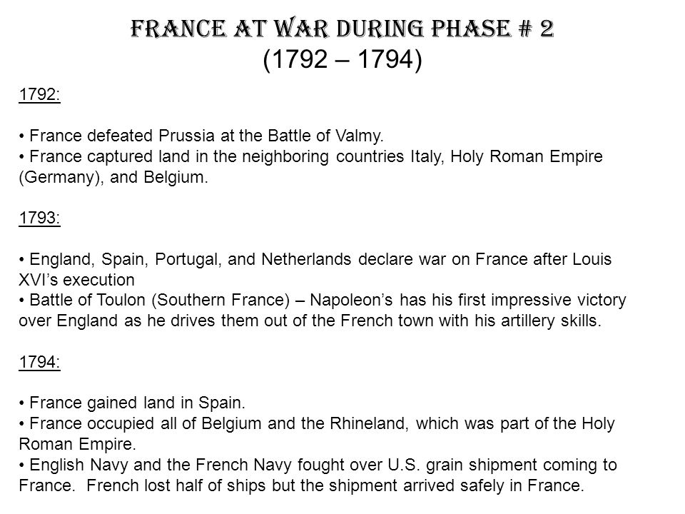 France At War During Phase # 2 (1792 – 1794)