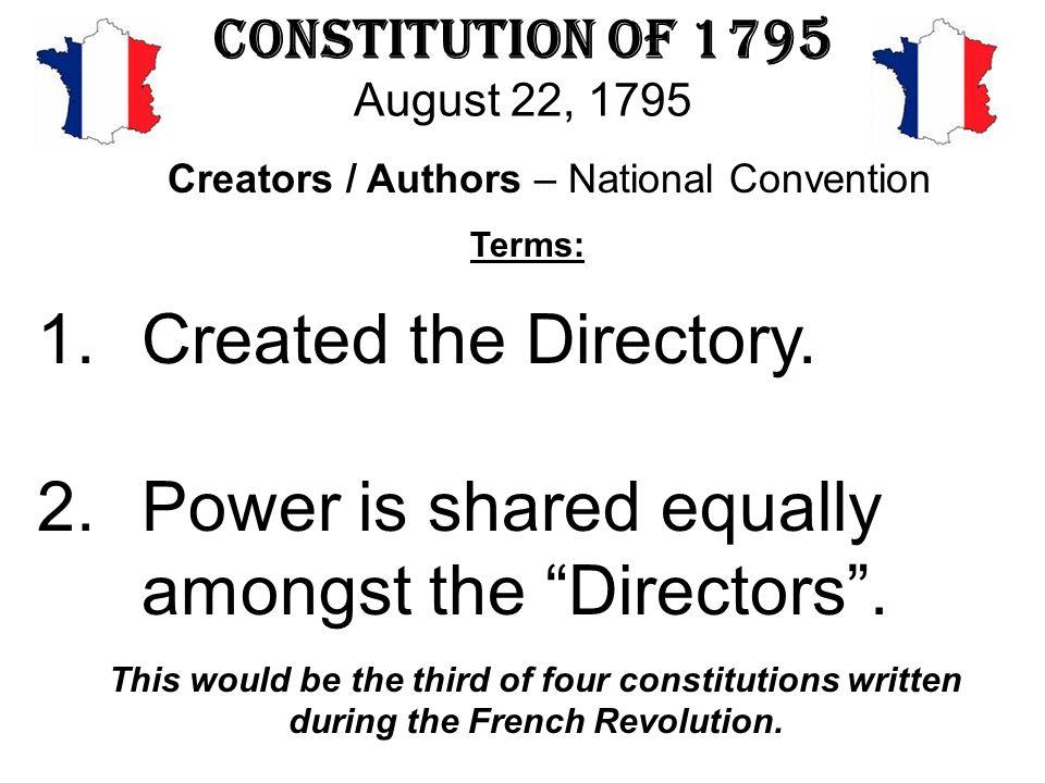 Constitution of 1795 August 22, 1795