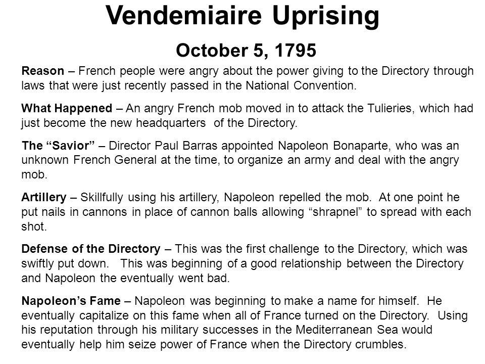 Vendemiaire Uprising October 5, 1795