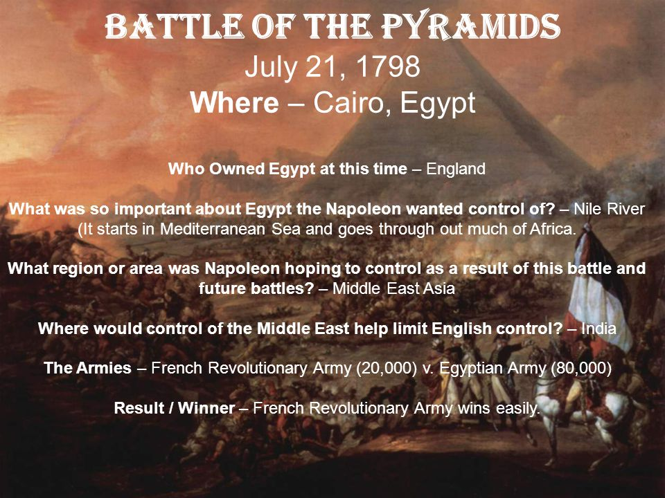 Battle of the Pyramids July 21, 1798 Where – Cairo, Egypt
