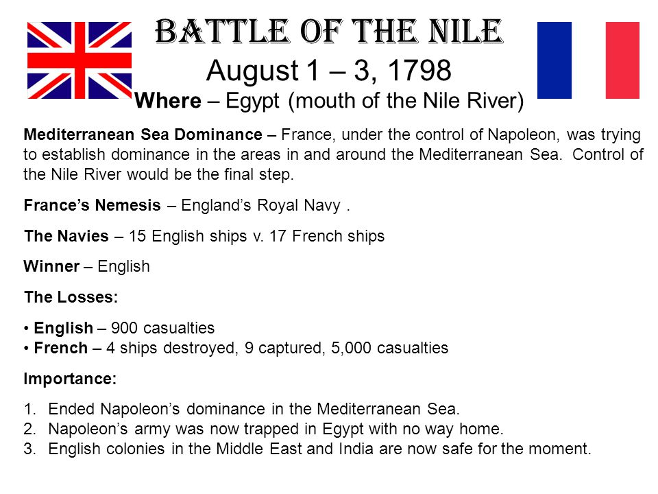 Battle of the Nile August 1 – 3, 1798 Where – Egypt (mouth of the Nile River)