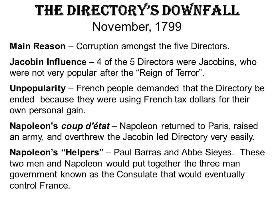 The Directory's Downfall November, 1799