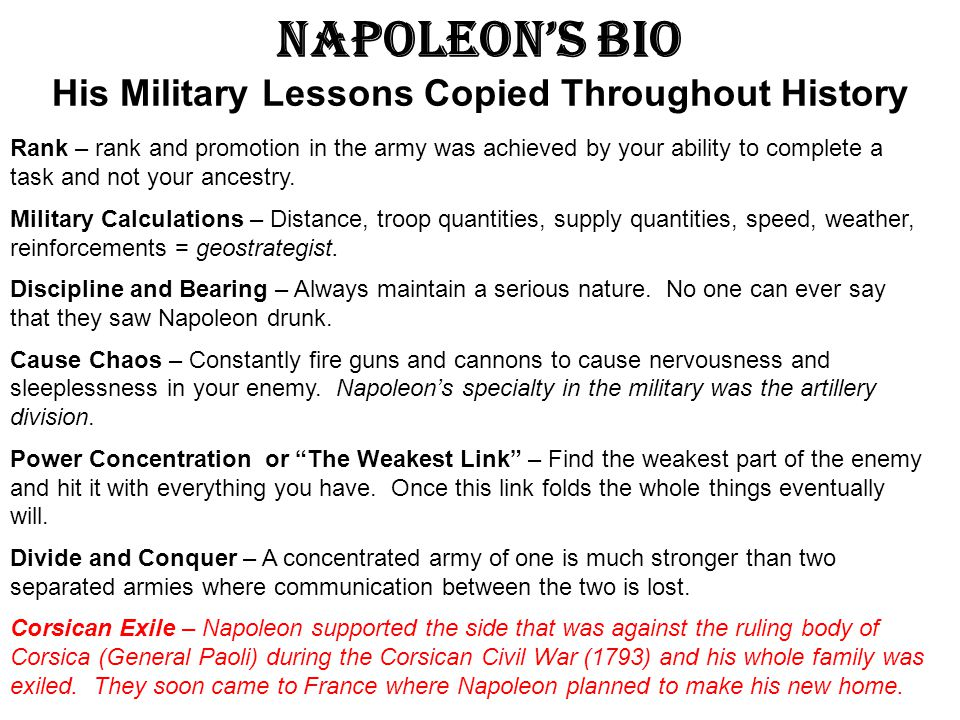 Napoleon's Bio His Military Lessons Copied Throughout History
