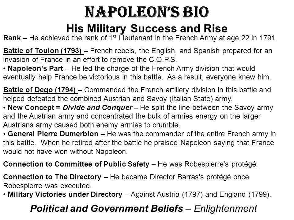 Napoleon's Bio His Military Success and Rise