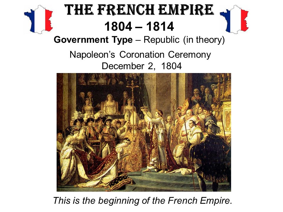 The French Empire 1804 – 1814 Government Type – Republic (in theory)