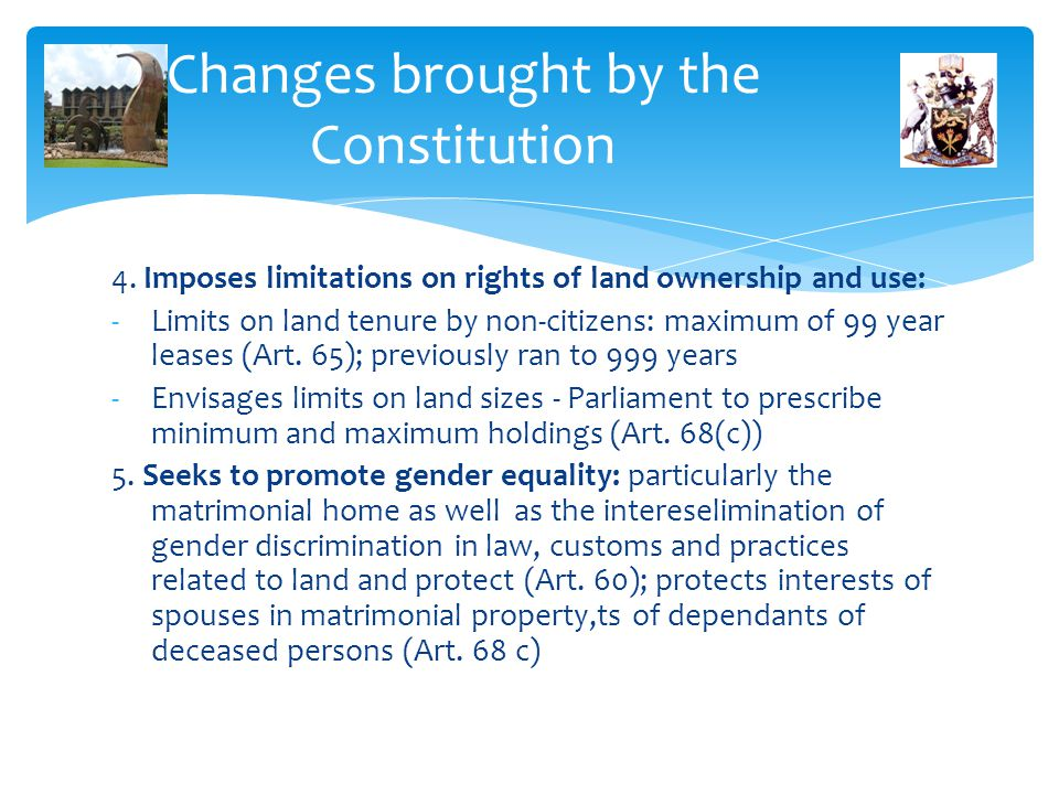 Changes brought by the Constitution
