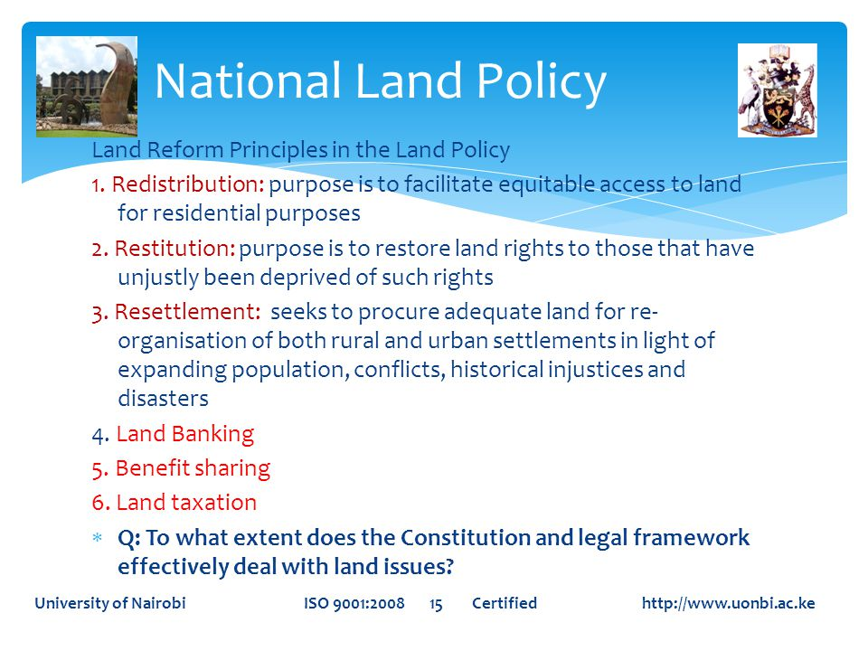 National Land Policy Land Reform Principles in the Land Policy