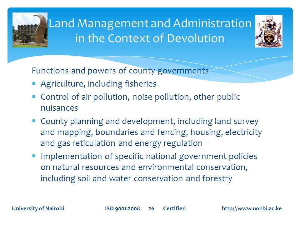 Land Management and Administration in the Context of Devolution