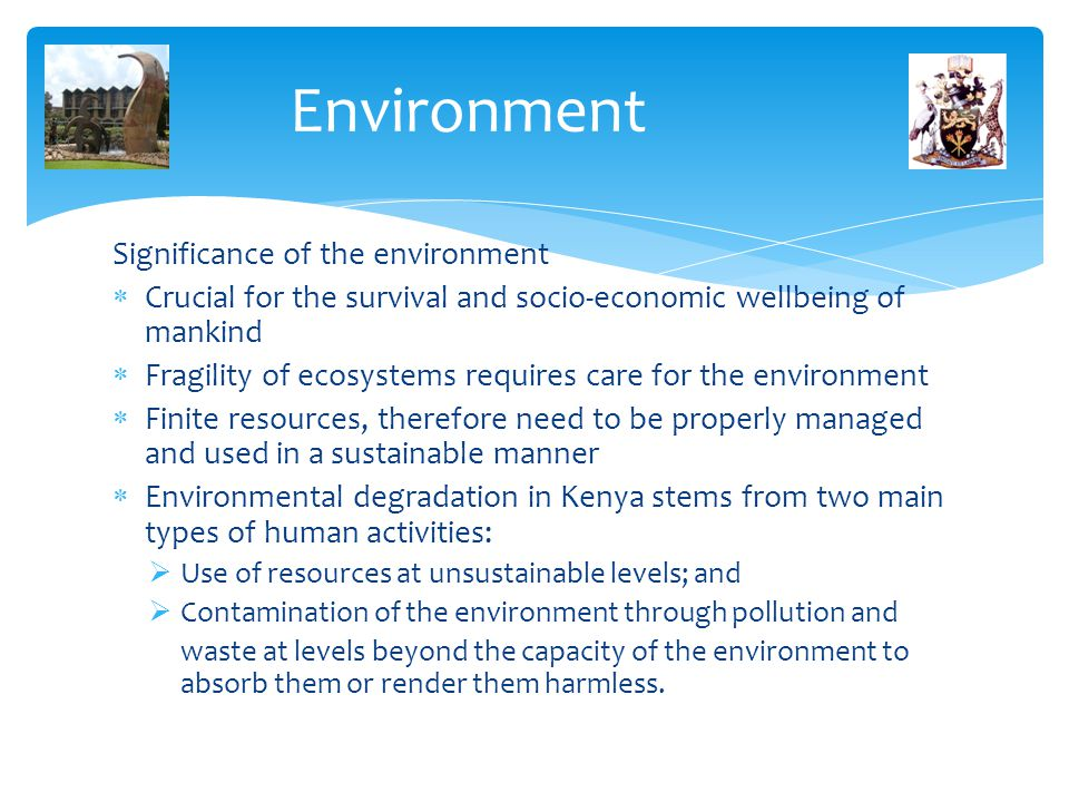 Environment Significance of the environment