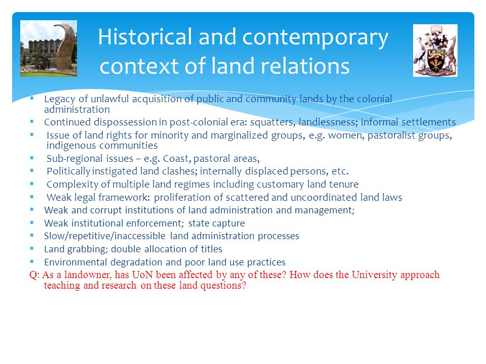 Historical and contemporary context of land relations