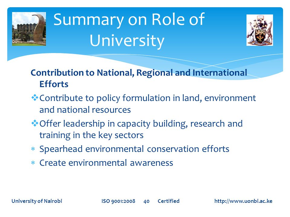 Summary on Role of University
