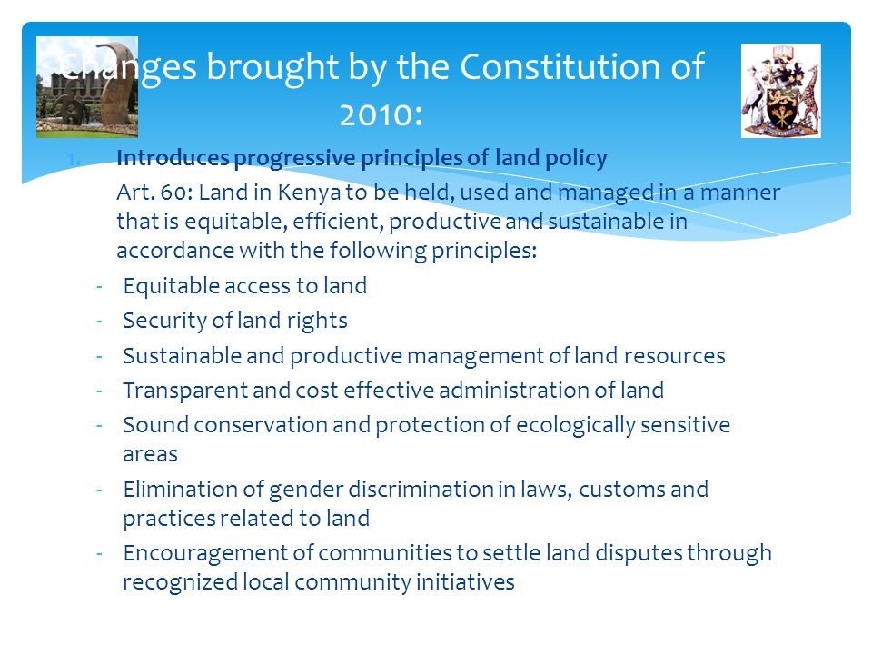 Changes brought by the Constitution of 2010: