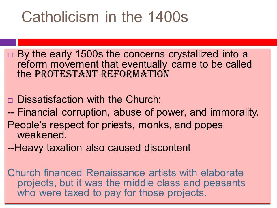 Catholicism in the 1400s