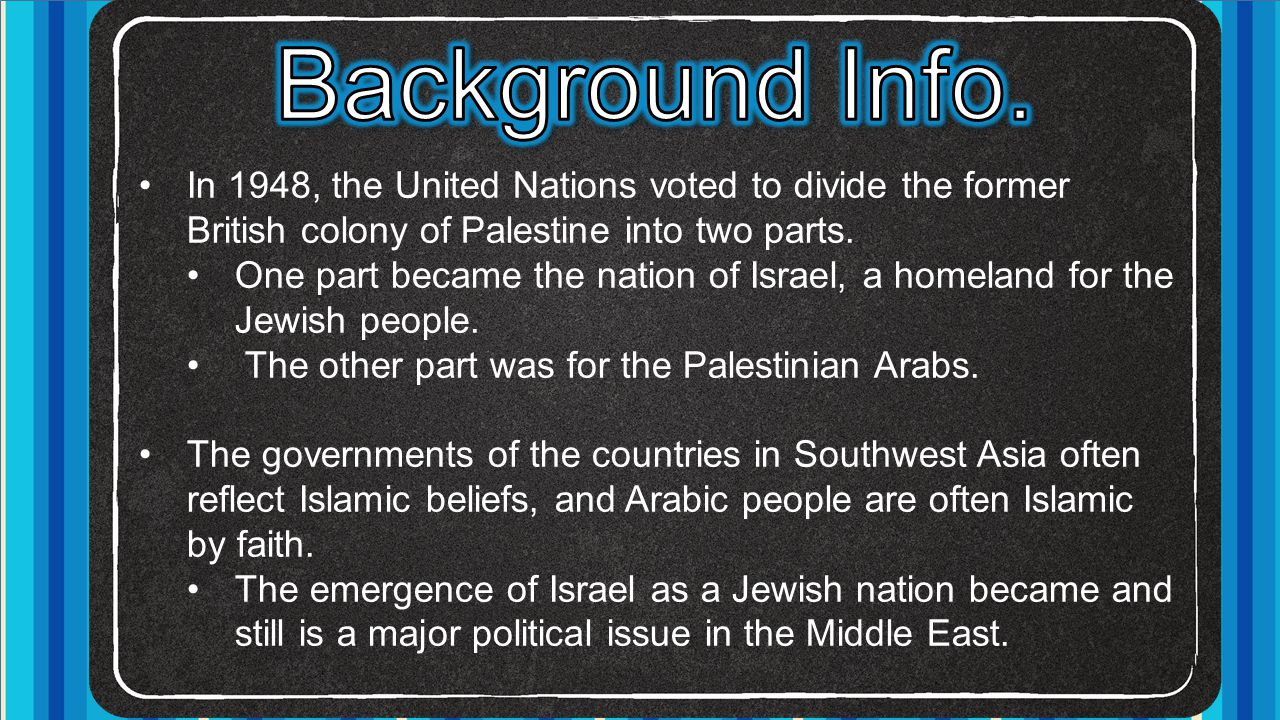 Background Info. In 1948, the United Nations voted to divide the former British colony of Palestine into two parts.