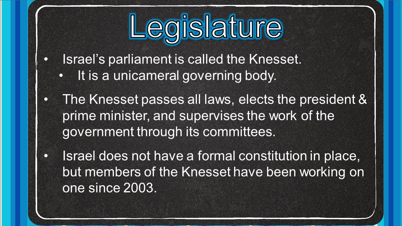 Legislature Israel's parliament is called the Knesset.