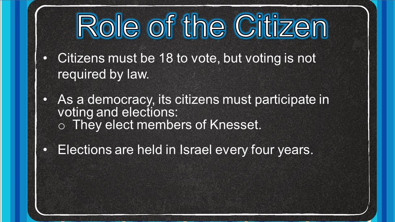 Role of the Citizen Citizens must be 18 to vote, but voting is not required by law.