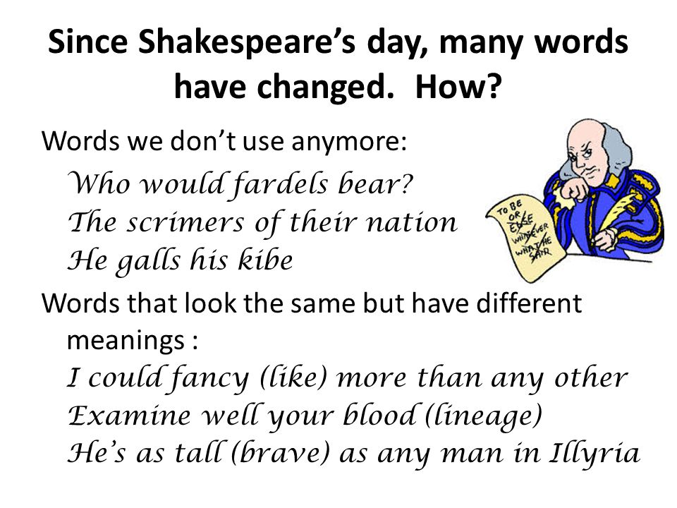 Since Shakespeare's day, many words have changed. How