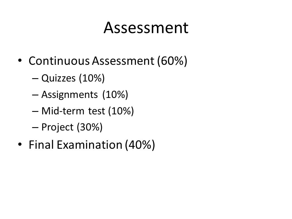 Assessment Continuous Assessment (60%) Final Examination (40%)