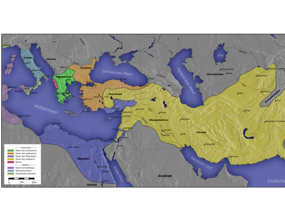 Kingdoms of the Diadochi in 281 BC: the Ptolemaic Kingdom (dark blue), the Seleucid Empire (yellow), Kingdom of Pergamon (orange), and Macedonia (green).