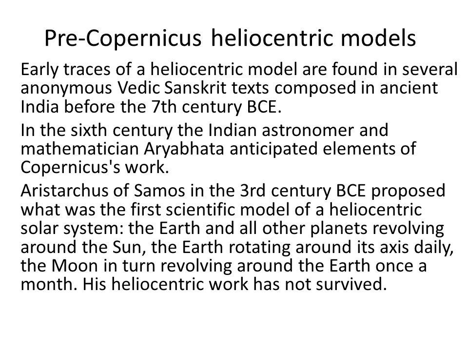 Pre-Copernicus heliocentric models