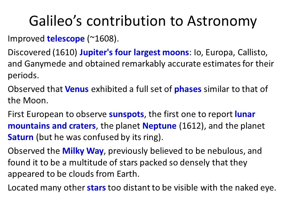 Galileo's contribution to Astronomy