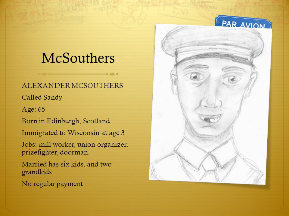 McSouthers ALEXANDER MCSOUTHERS Called Sandy Age: 65