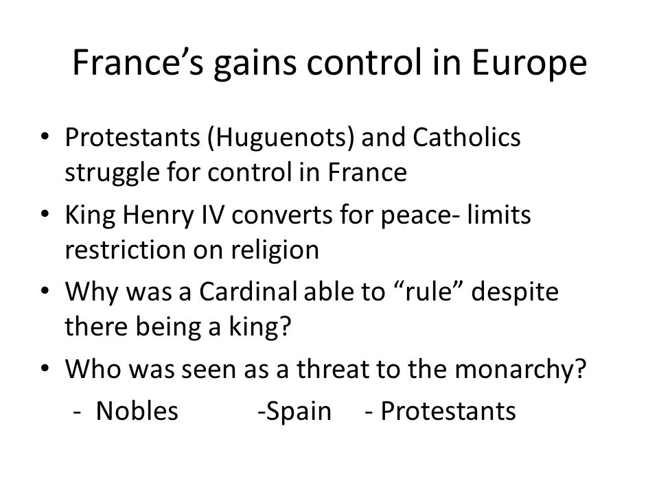 France's gains control in Europe