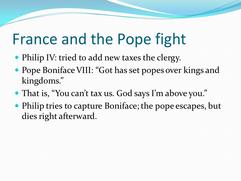 France and the Pope fight