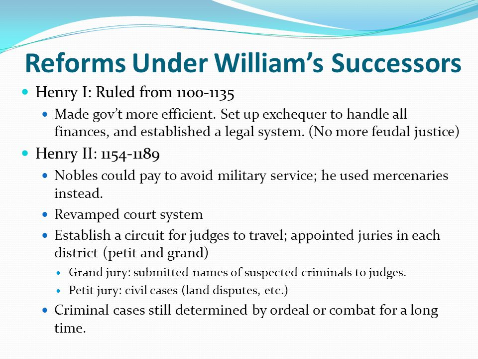 Reforms Under William's Successors