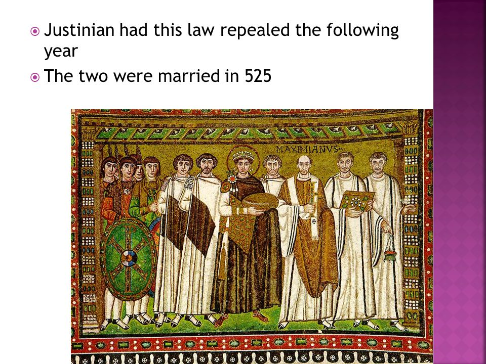 Justinian had this law repealed the following year