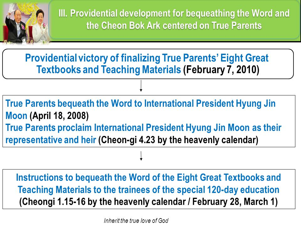 Providential victory of finalizing True Parents' Eight Great