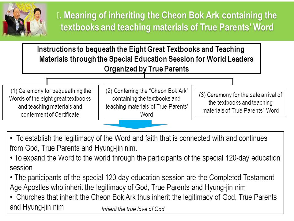 Ⅳ. Meaning of inheriting the Cheon Bok Ark containing the textbooks and teaching materials of True Parents' Word