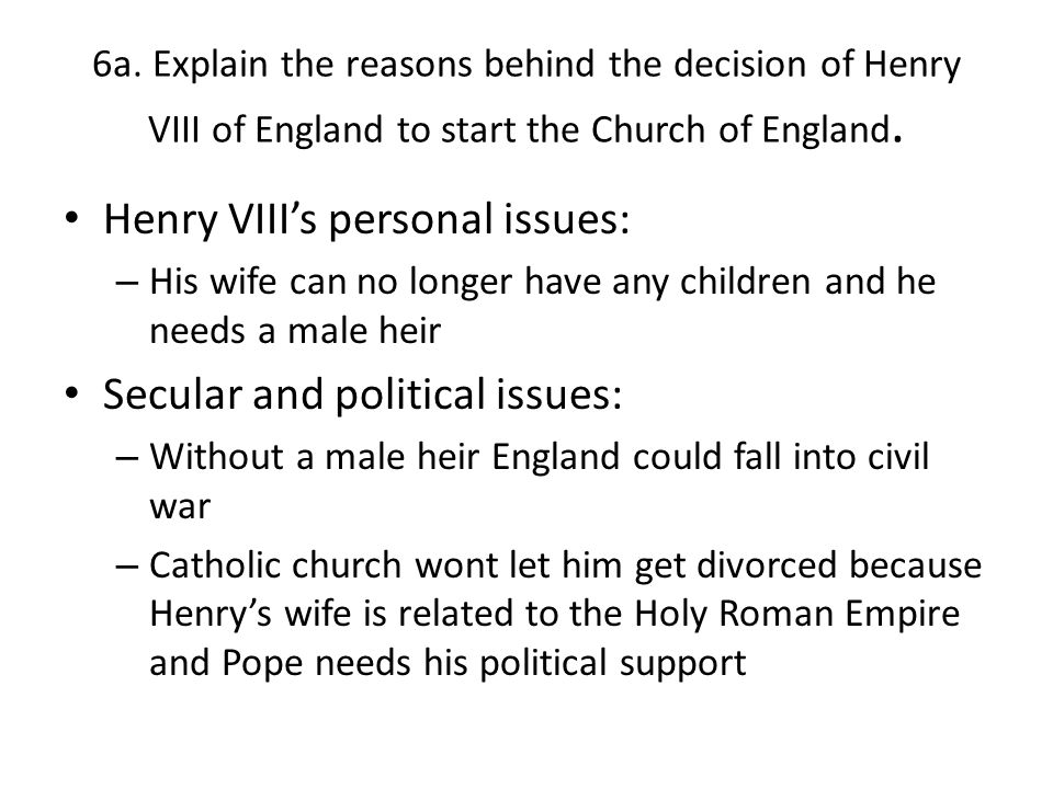 Henry VIII's personal issues:
