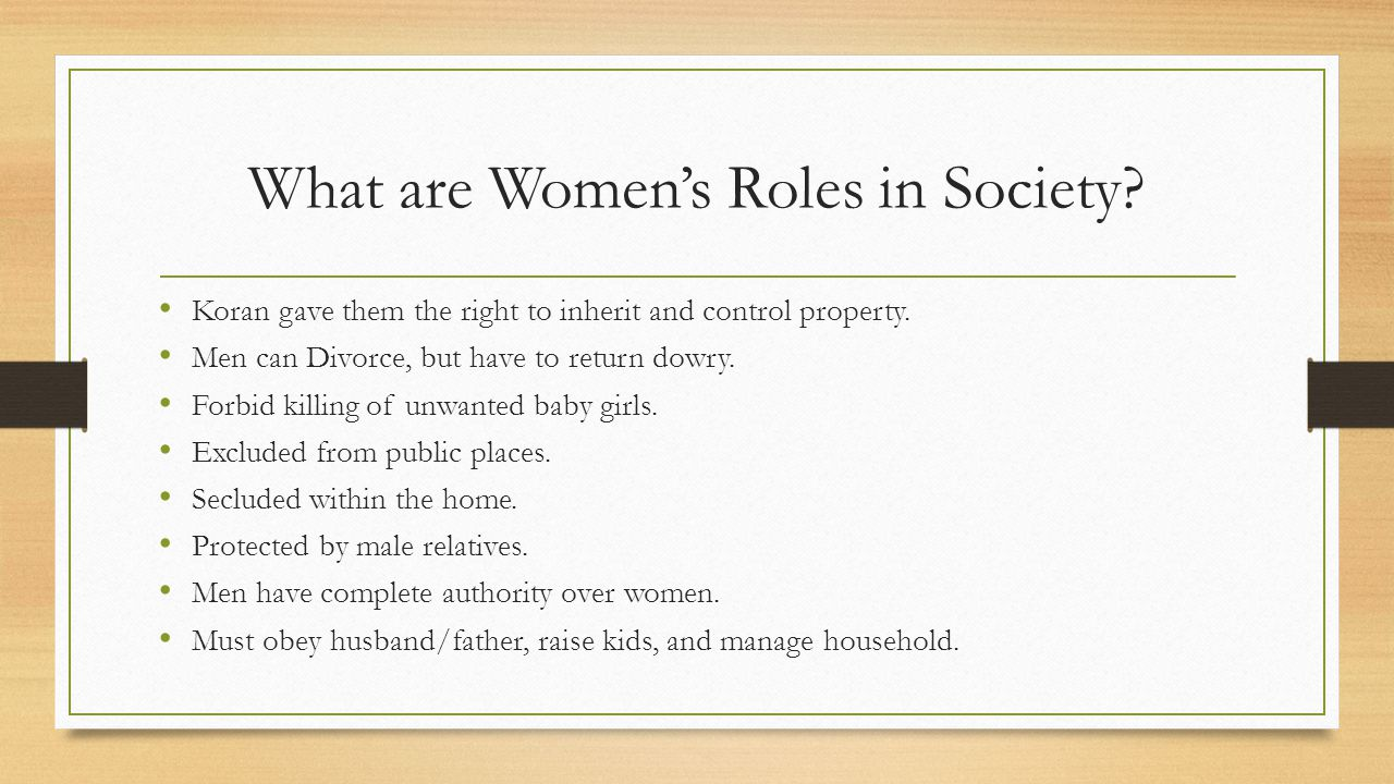 What are Women's Roles in Society