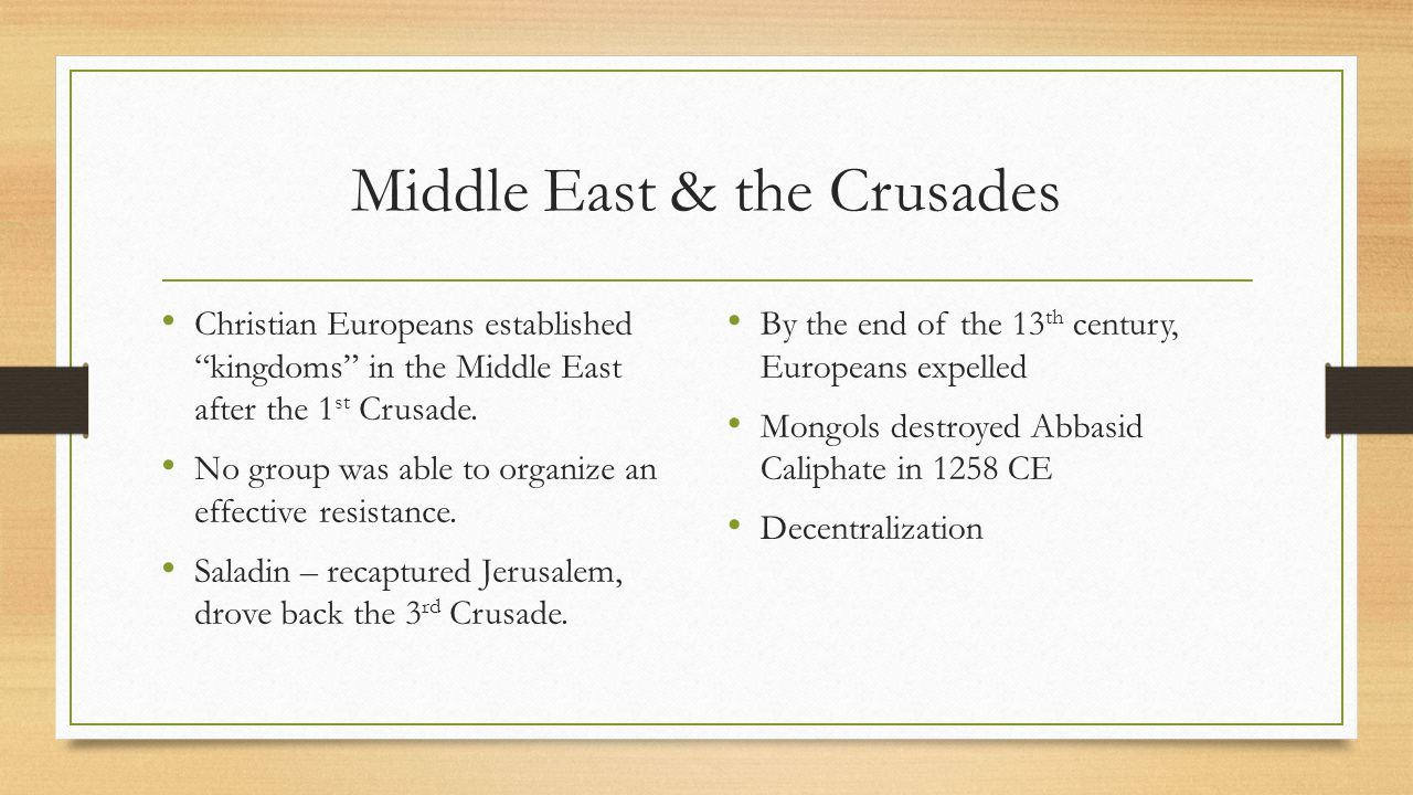 Middle East & the Crusades