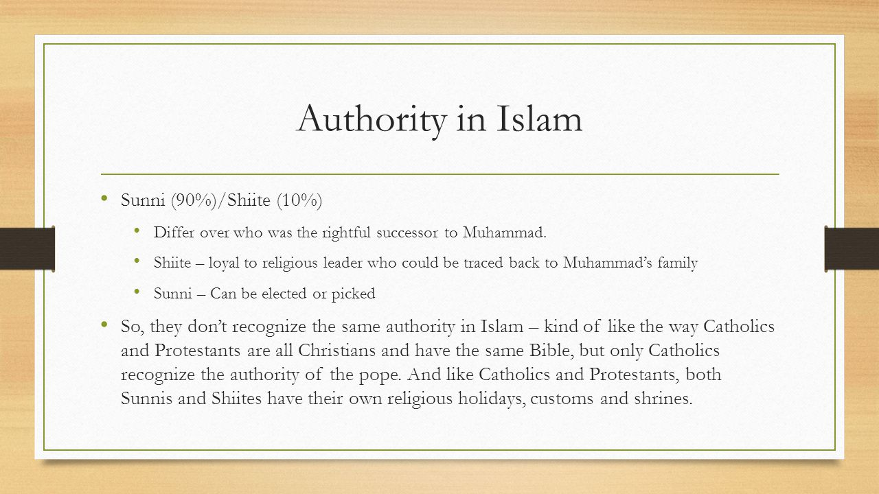 Authority in Islam Sunni (90%)/Shiite (10%)
