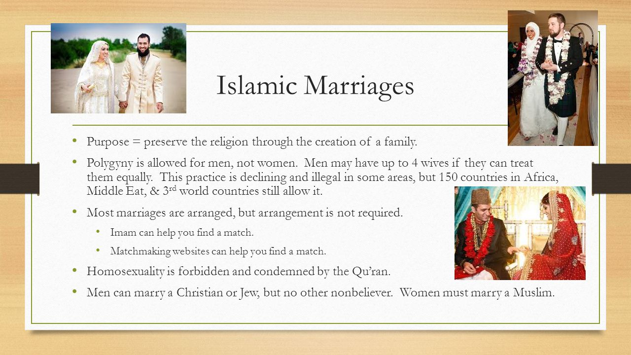 Islamic Marriages Purpose = preserve the religion through the creation of a family.