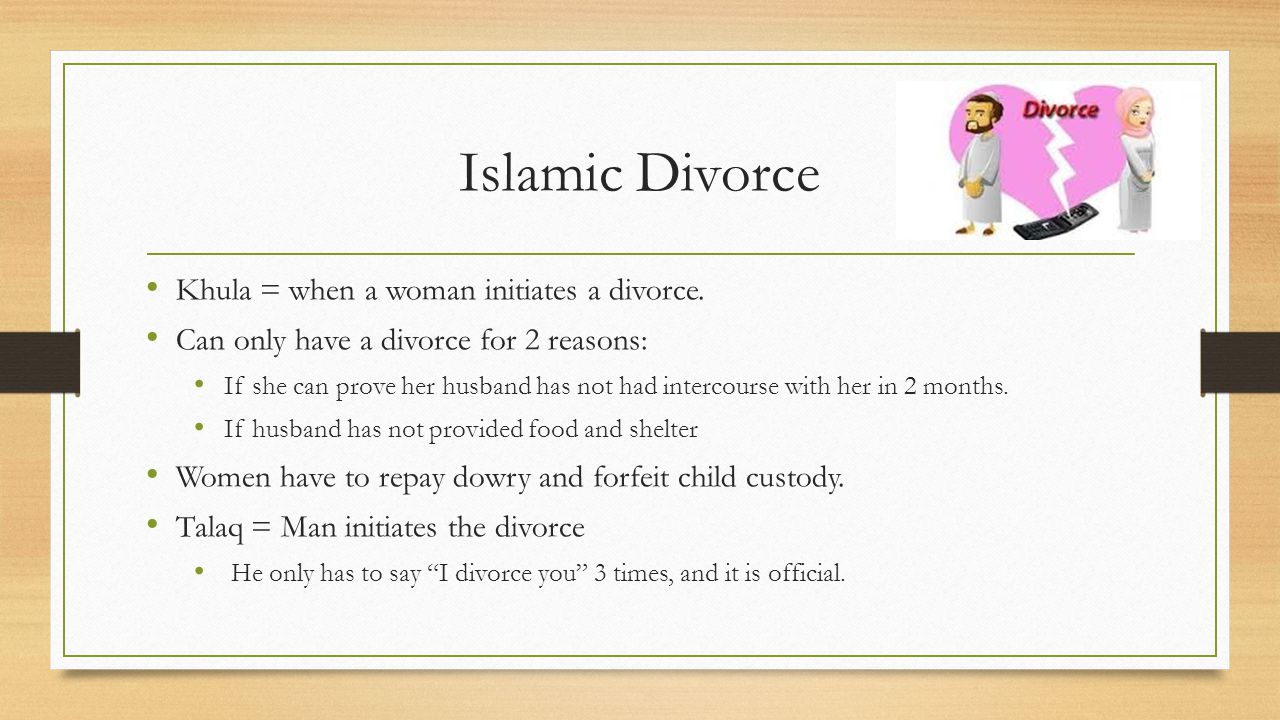 Islamic Divorce Khula = when a woman initiates a divorce.