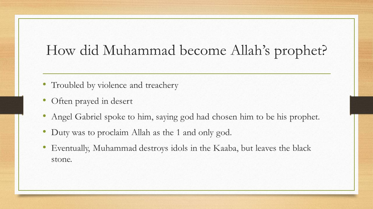 How did Muhammad become Allah's prophet